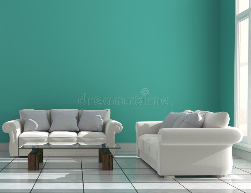 有沙发的薄荷的在陶瓷地板内部的墙壁&餐具柜 3d?? 向量例证