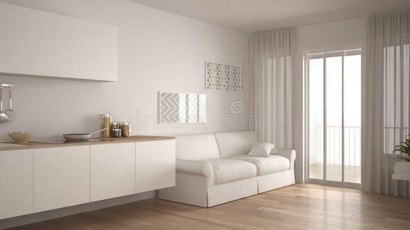 有沙发的,木镶花地板,白色微型斯堪的纳维亚厨房 库存例证