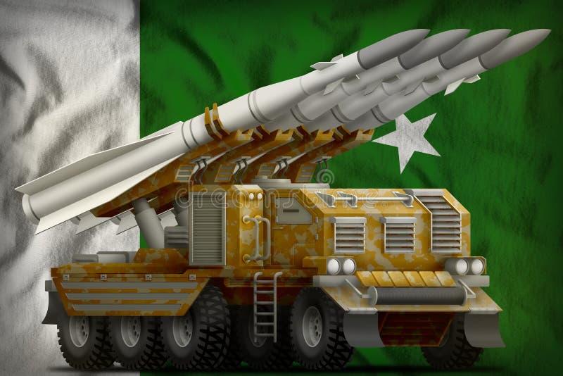 有沙子伪装的作战短程弹道导弹在巴基斯坦国旗背景 3d例证 皇族释放例证