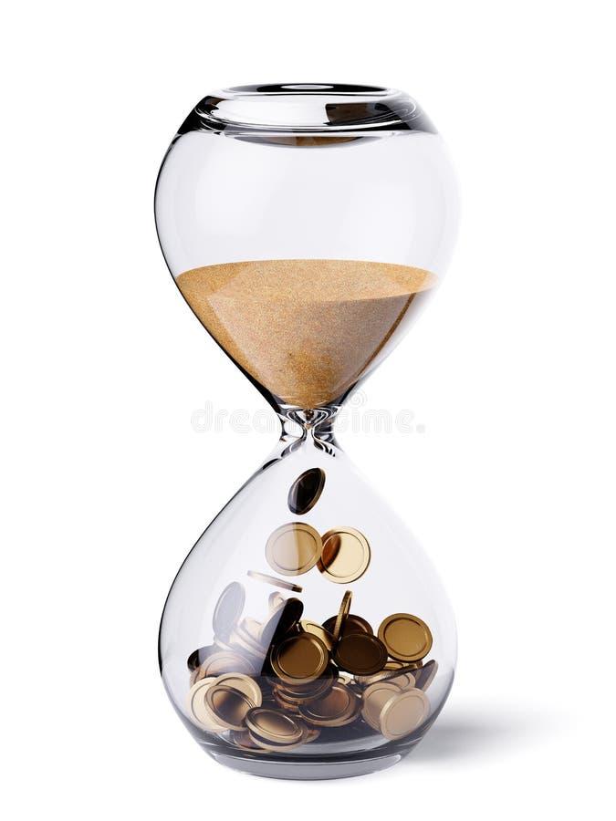 有沙子和金币的滴漏时钟 免版税图库摄影