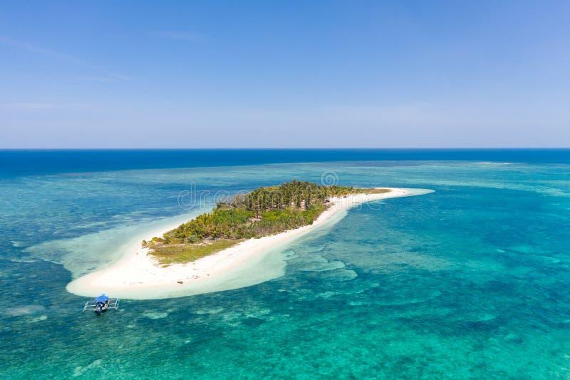 有沙滩的热带海岛Canimeran在有珊瑚礁的,顶视图蓝色海 巴拉巴克海峡,巴拉旺岛,菲律宾 库存照片