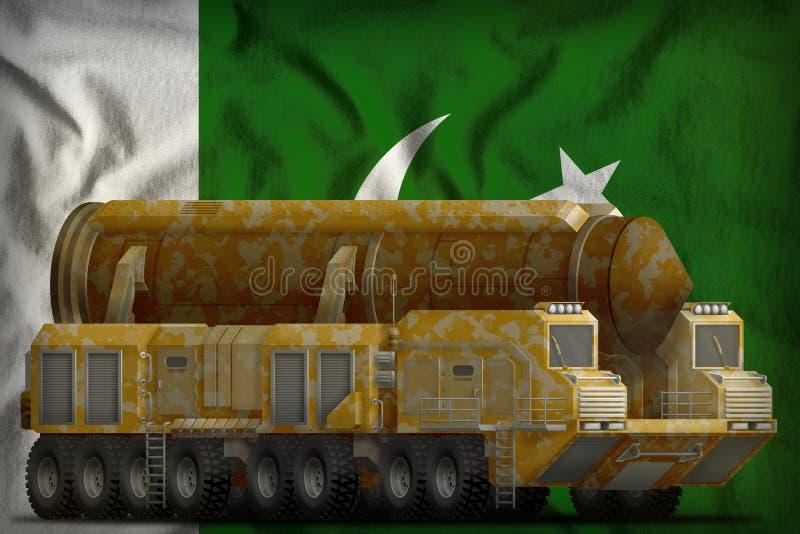 有沙漠伪装的洲际弹道导弹在巴基斯坦国旗背景 3d例证 向量例证