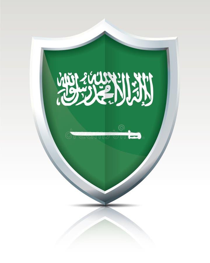 有沙特阿拉伯的旗子的盾 向量例证