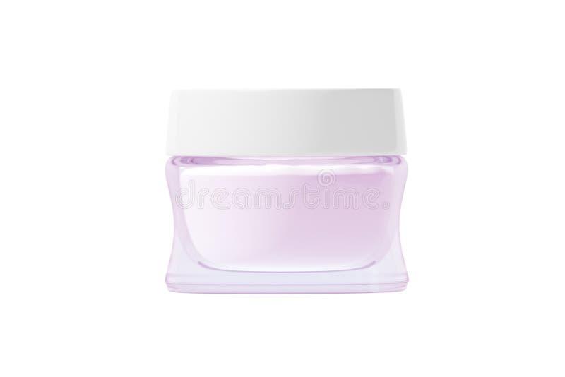 有没有影子白色塑料的盒盖的3D玻璃瓶子使 向量例证
