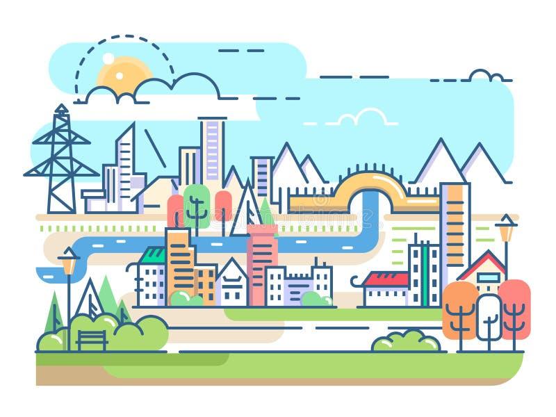有河和住宅的城市 向量例证