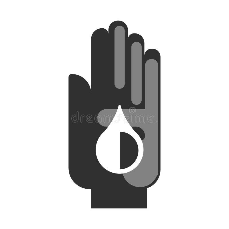 有油下落的人的手 平的传染媒介例证 库存例证