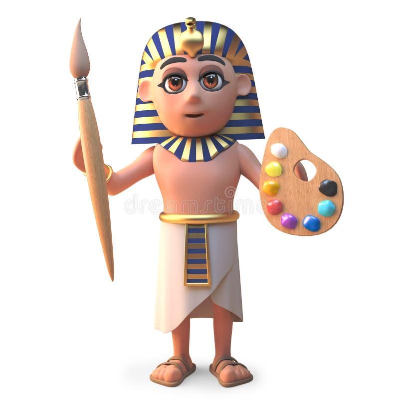 有油漆刷和调色板的,3d动画片埃及法老王图坦卡蒙例证 皇族释放例证