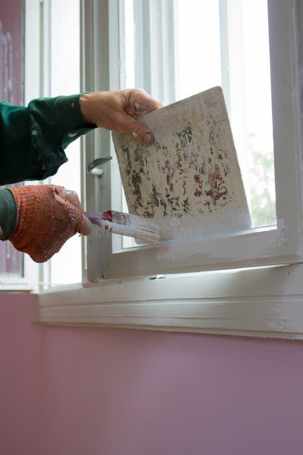 有油漆窗口的盖子 库存照片