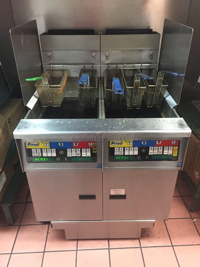 有油的深炸锅在比萨店 免版税库存图片