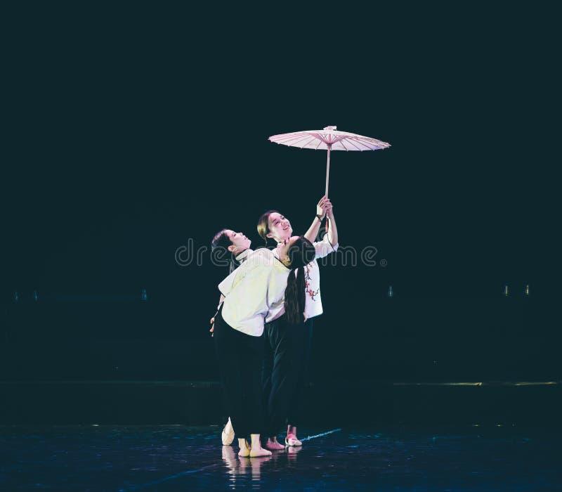 有油纸伞2丁香舞蹈戏曲的女孩 库存照片