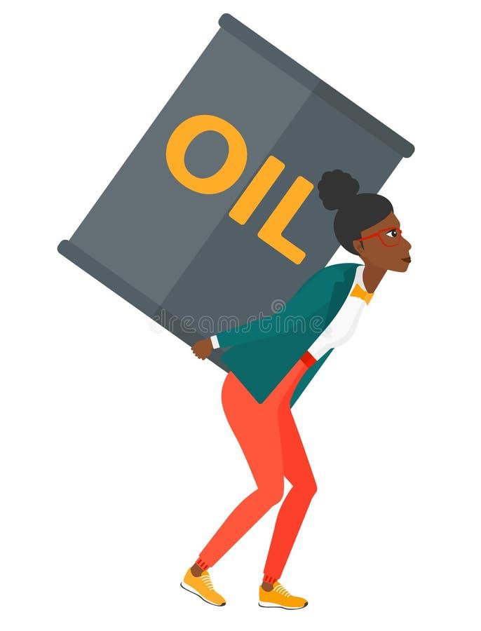 有油罐头的妇女 向量例证