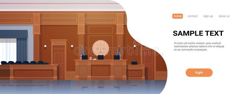 有法官工作场所和陪审团位子现代法院大楼内部正义和法律学概念的空的法庭 向量例证