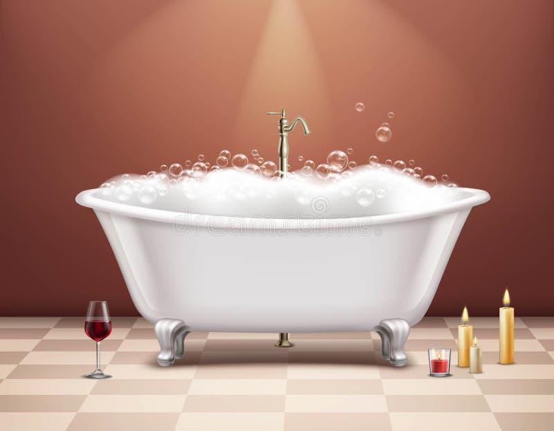 有泡沫构成的浴缸 皇族释放例证