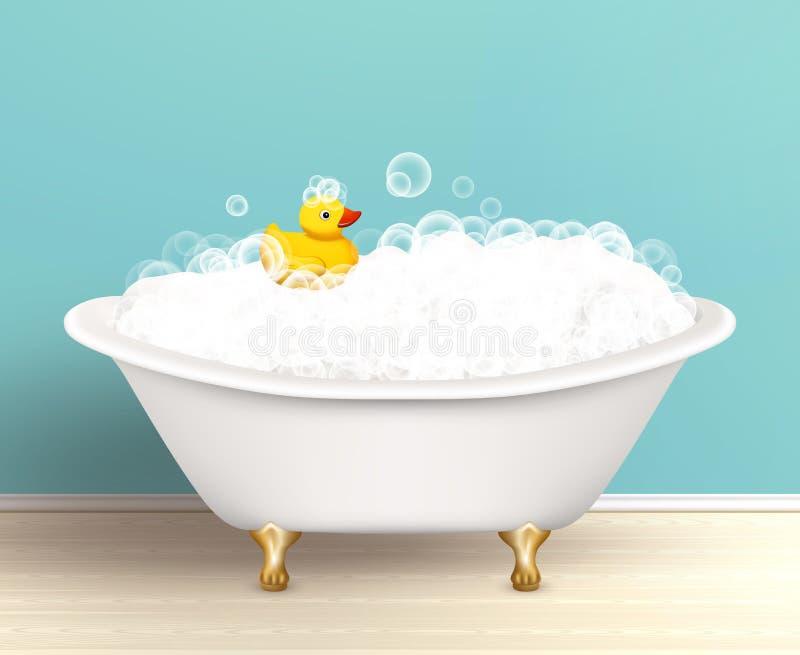 有泡沫海报的浴缸 皇族释放例证