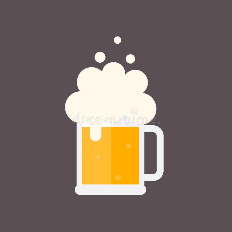有泡沫的啤酒杯 向量例证