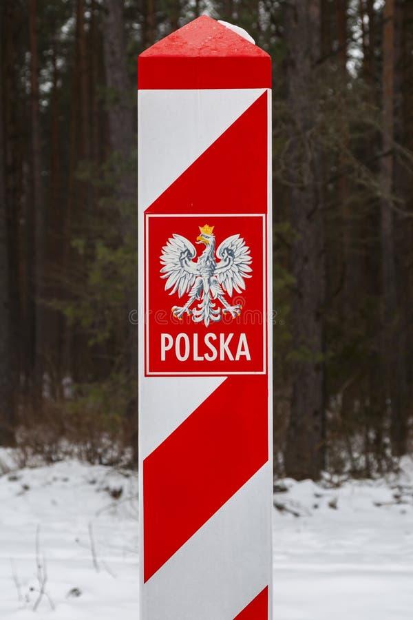 有波兰人的象征的边境口岸 库存图片