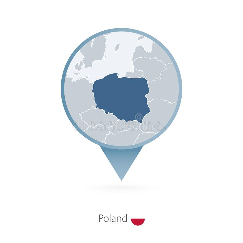 有波兰和邻国详细的地图的地图别针  向量例证