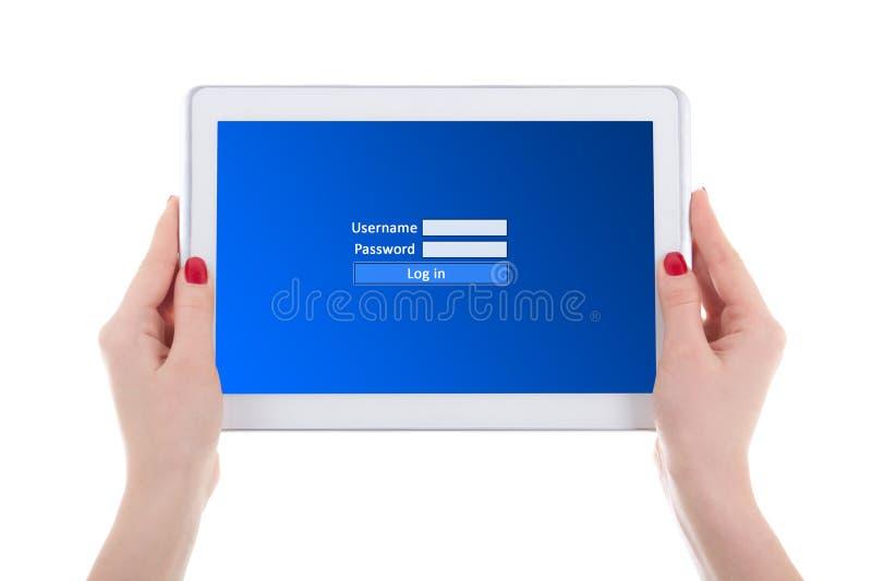 有注册盘区的现代片剂个人计算机在女性的屏幕上递isol 免版税图库摄影