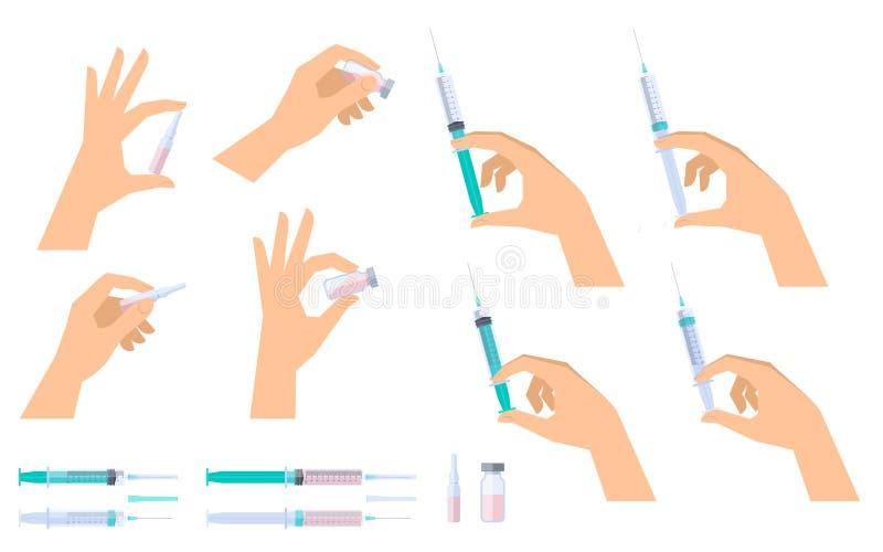 有注射器、细颈瓶和小瓶的手 科学,医疗,劳方 皇族释放例证