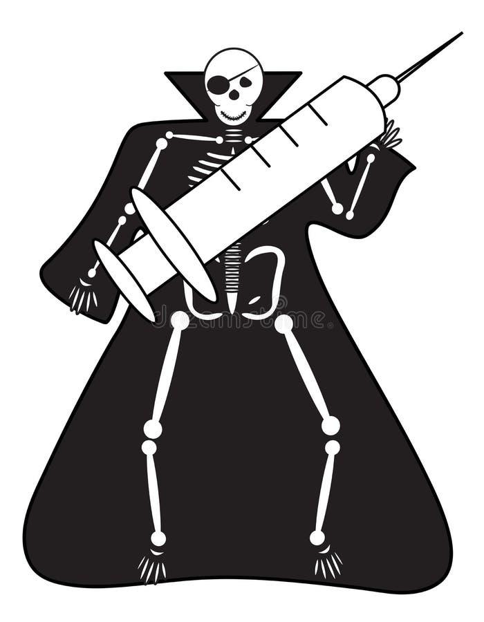 有注射器的万圣夜人的骨骼 库存例证