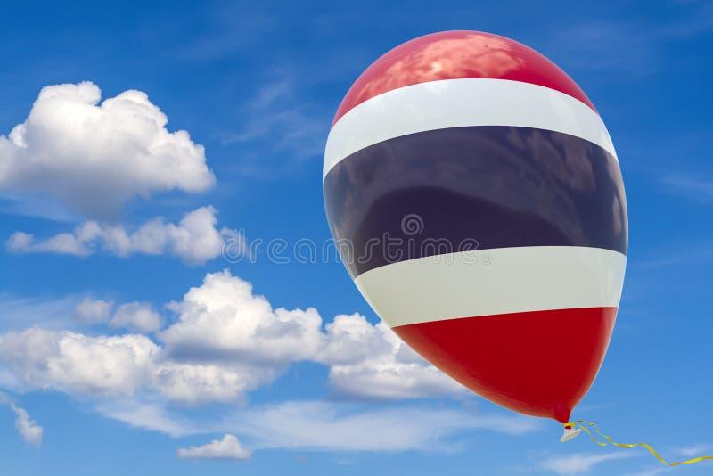有泰国的国旗的图象的气球,飞行通过天空蔚蓝 3D翻译,与拷贝空间的例证 向量例证