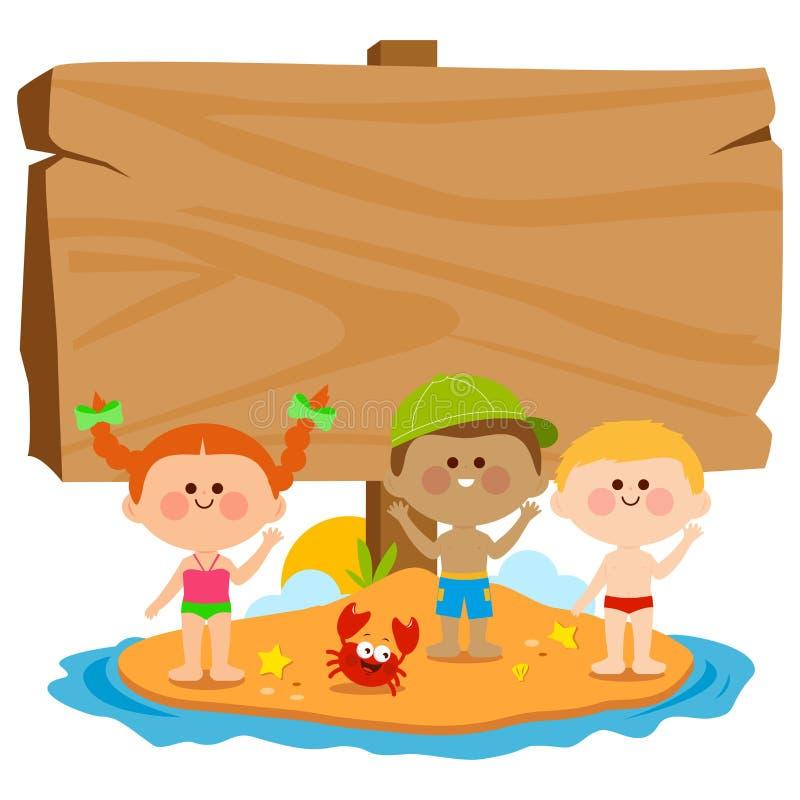 有泳装的孩子在夏天海岛和空白的木标志上 也corel凹道例证向量 库存例证