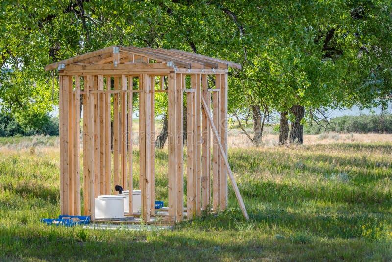 有洗手间的露天外屋在萨斯喀彻温省,加拿大 库存照片