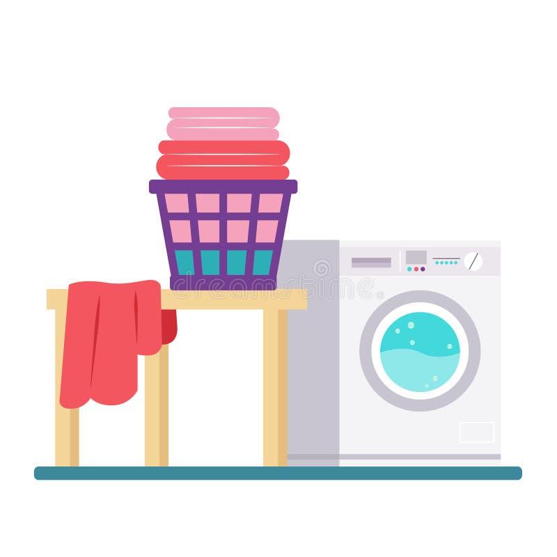 有洗衣机和烘干机的洗衣房 平的样式 向量例证