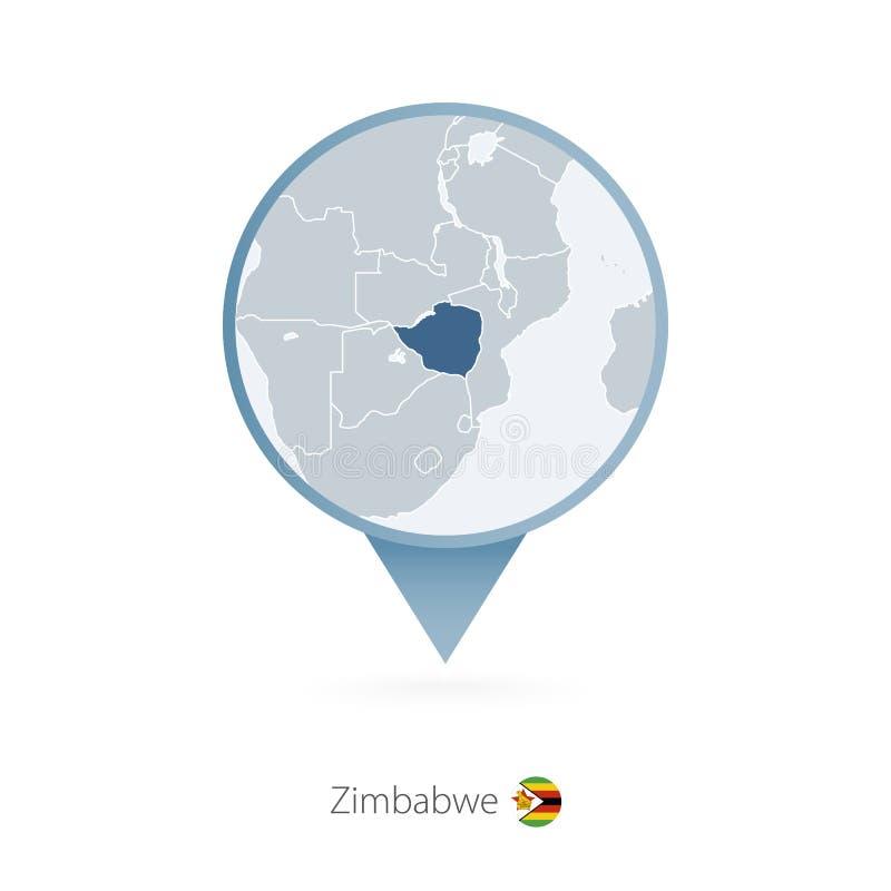 有津巴布韦和邻国详细的地图的地图别针  皇族释放例证