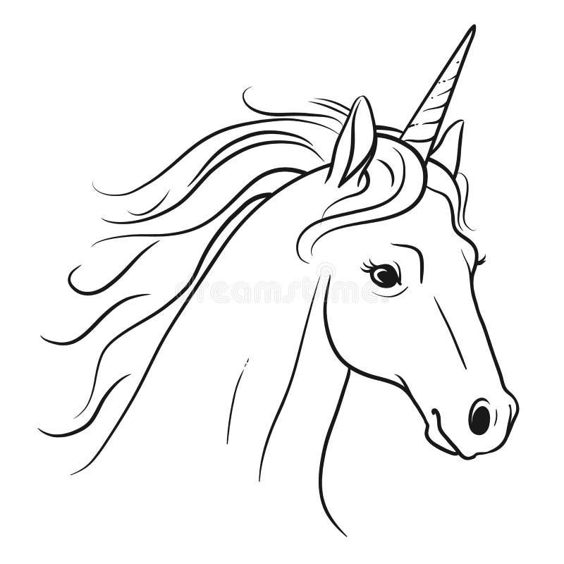 有流动的鬃毛手拉的黑白的笔的独角兽头 皇族释放例证