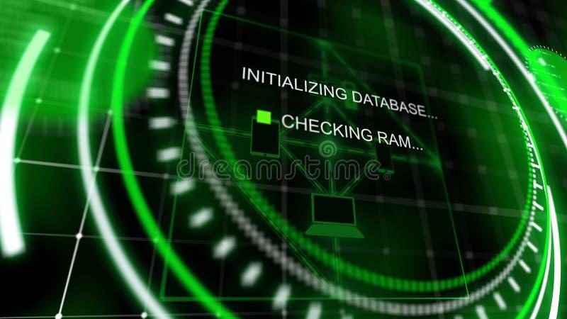 有流程图的转动的绿色平视显示的屏幕 向量例证
