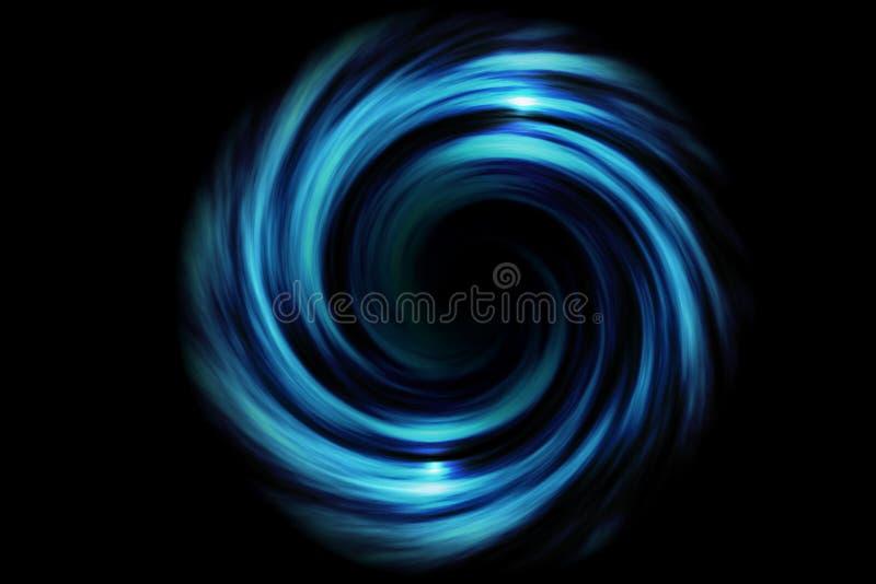 有浅兰的烟的抽象螺旋隧道在黑背景 库存照片