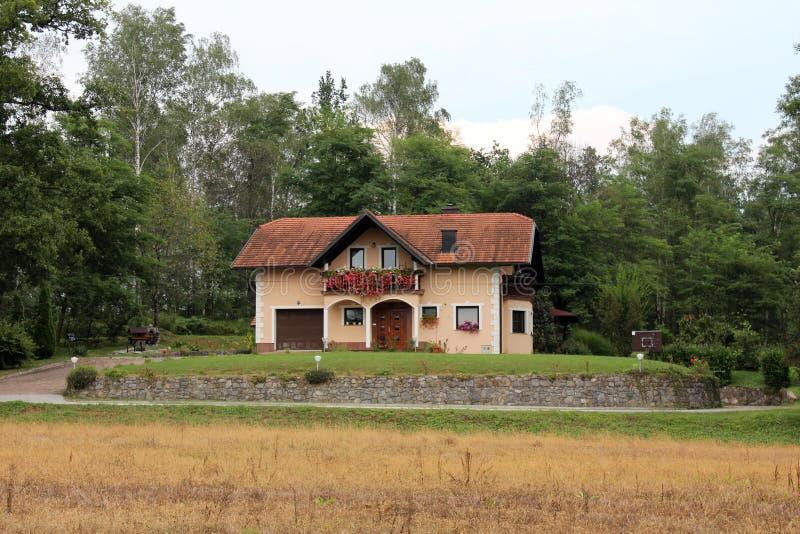有浅粉红色的门面的偏僻的郊区家庭在阳台的房子和花包围与长的车道和高森林 图库摄影