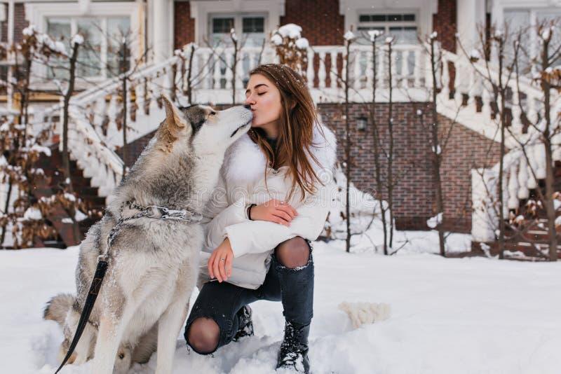 有浅褐色的头发的迷人的女孩亲吻多壳的狗的在冷淡的天 逗人喜爱的年轻女人室外画象在冬天 库存照片