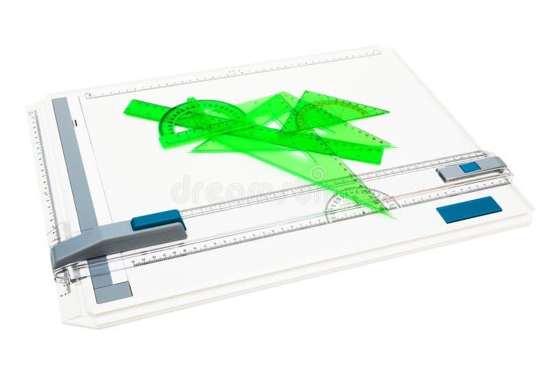 有测量的工具的绘图板 免版税库存照片