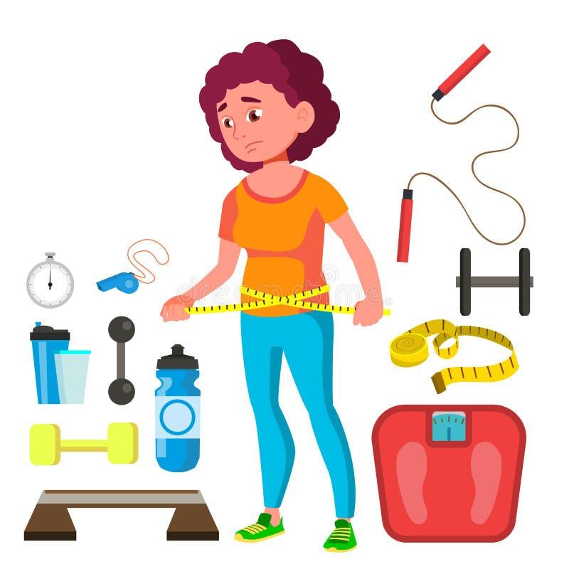 有测量的磁带的年轻健身女孩在她的腰部传染媒介附近 按钮查出的现有量例证推进s启动妇女 库存例证