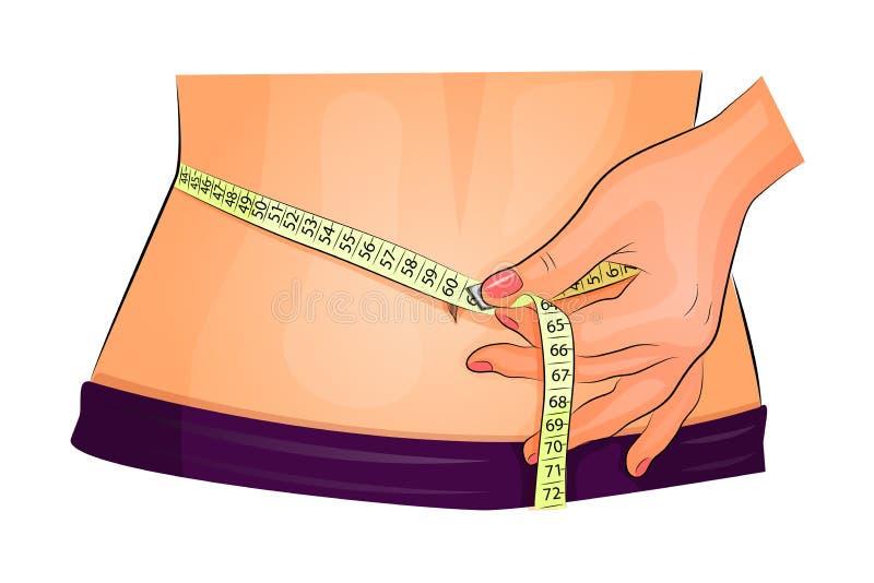 有测量的磁带的测量的腰部 库存例证