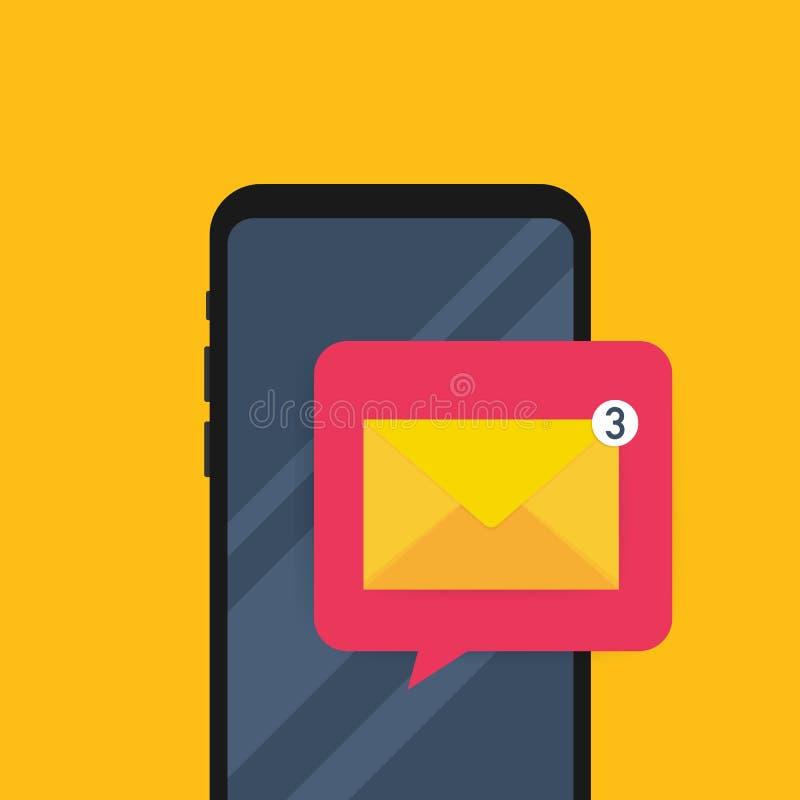 有浏览器和信封传染媒介例证的,接受电子邮件的标志,服务,通知智能手机 也corel凹道例证向量 向量例证