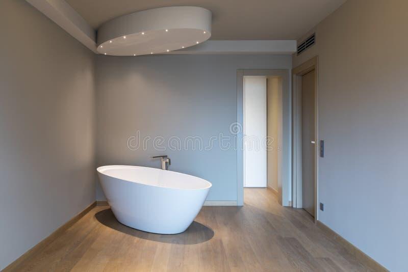 有浴缸的,豪华公寓现代卧室 库存图片