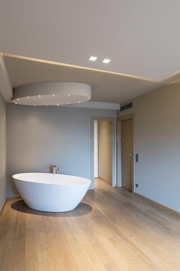 有浴缸的,豪华公寓现代卧室 免版税库存照片