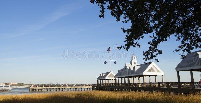 有海关船坞的码头长的码头沼泽草的 免版税图库摄影