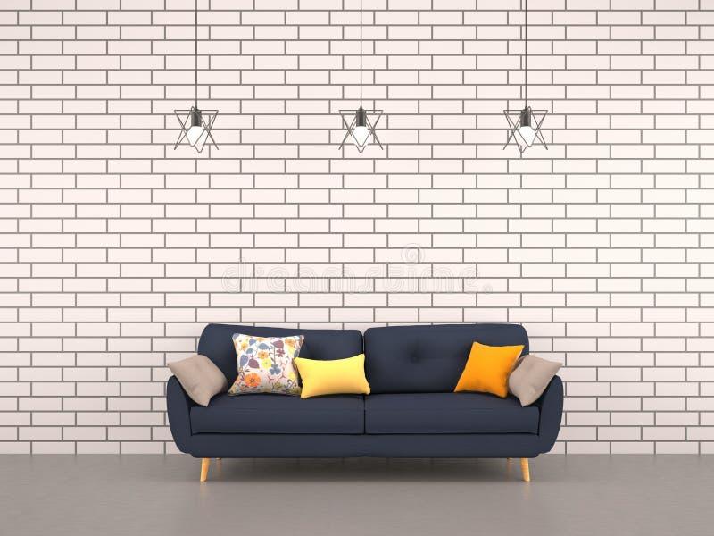 有海军沙发的客厅白色砖墙 免版税库存图片
