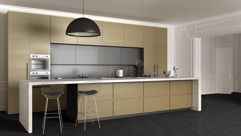 有海岛、装置和大吊灯的金黄黄色木现代最小的厨房在与灰泥墙壁的经典公寓 向量例证