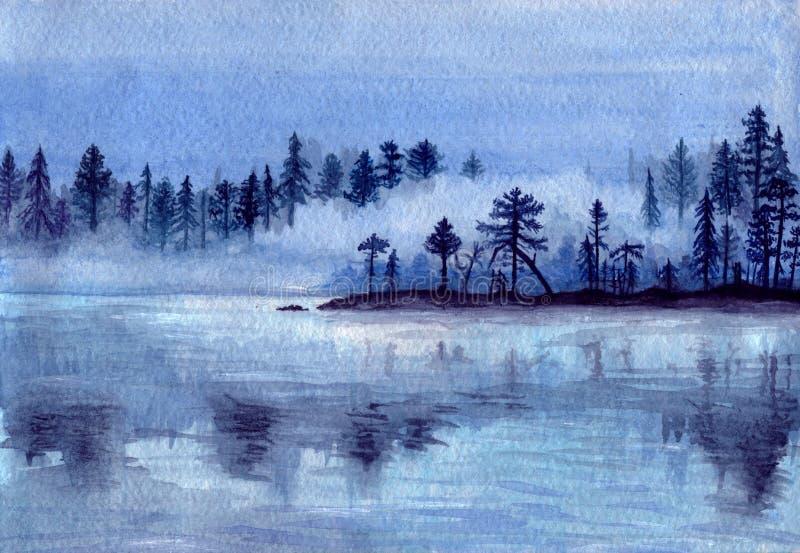 有海岛和树的-水彩手拉的例证有薄雾的湖 皇族释放例证