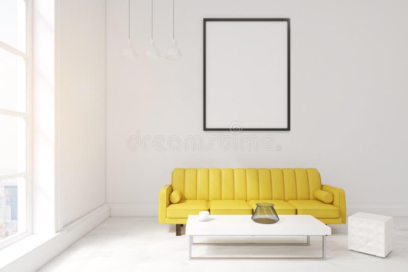 有海报、黄色沙发和咖啡桌的客厅 向量例证