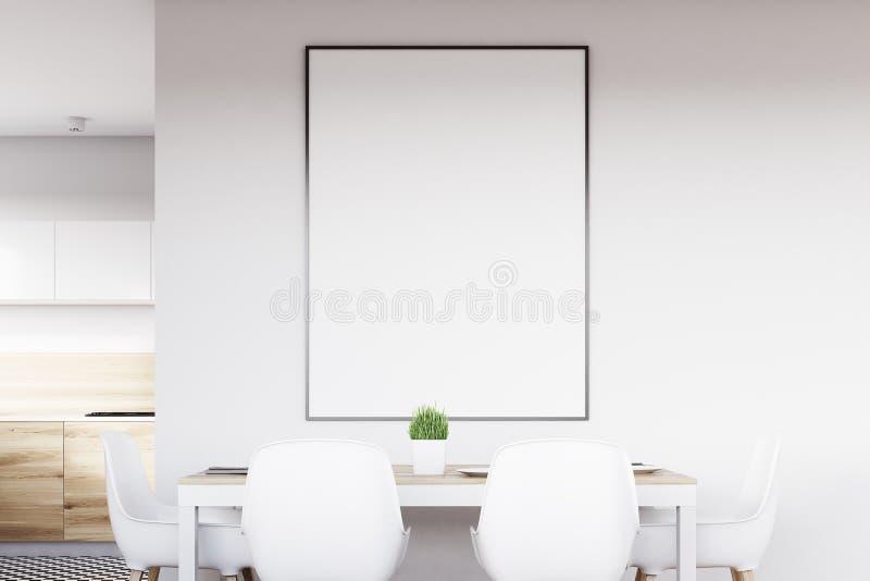 有海报关闭的白色厨房 皇族释放例证