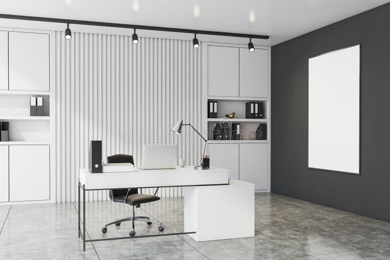 有海报的白色和灰色CEO办公室 向量例证