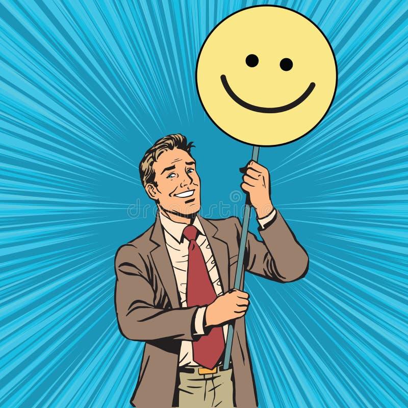 有海报Emoji面带笑容的抗议者 库存例证