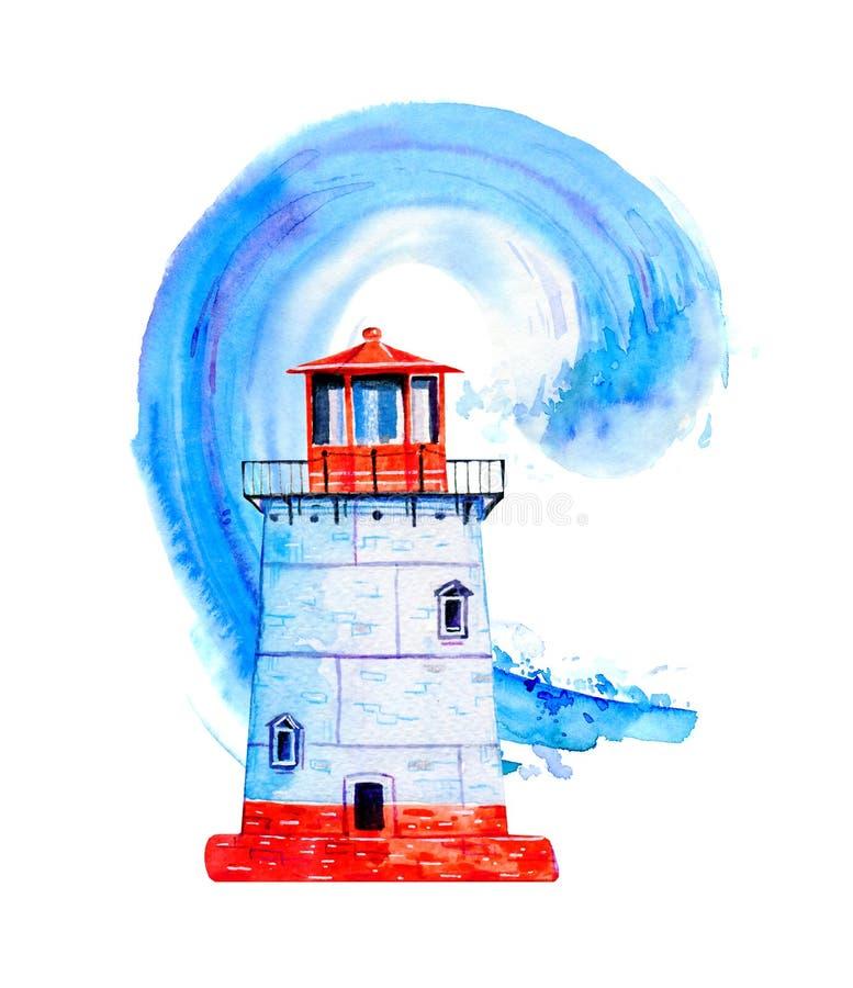 有海浪的小红色和白色动画片灯塔在背景 手拉的水彩例证 向量例证