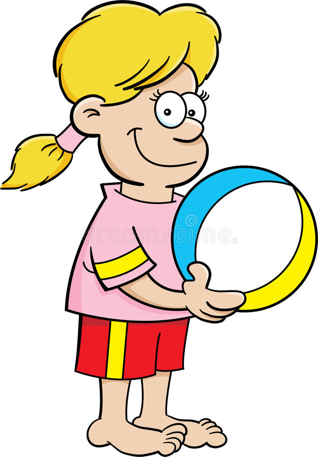 有海滩球的动画片女孩 向量例证